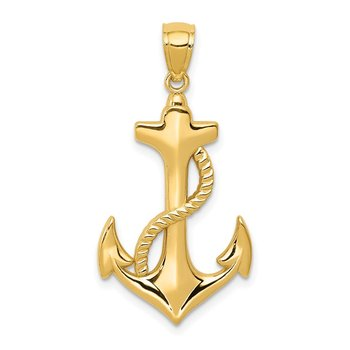 14k Polished Anchor w/Rope Pendant