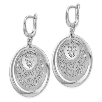 Leslie's Sterling Silver Polished and Brushed Leverback Earrings