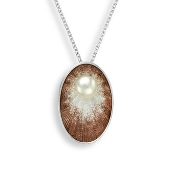 Brown Oval Necklace.Sterling Silver-Freshwater Pearl