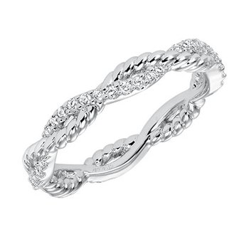 14K White Gold Rope Diamond Wedding Band