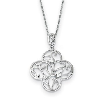 Sterling Silver CZ Tranquility 18in Cross Necklace