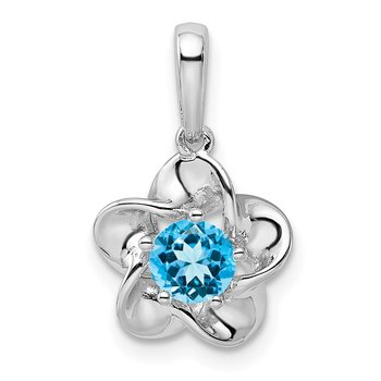 Sterling Silver Rhodium-plated Floral Blue Topaz Pendant