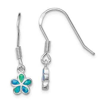 Sterling Silver Rhodium-plated Blue Created Opal Flower Earrings
