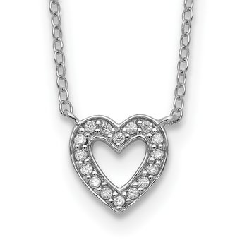Sterling Silver Rhodium-plated CZ Open Heart 18 inch Necklace