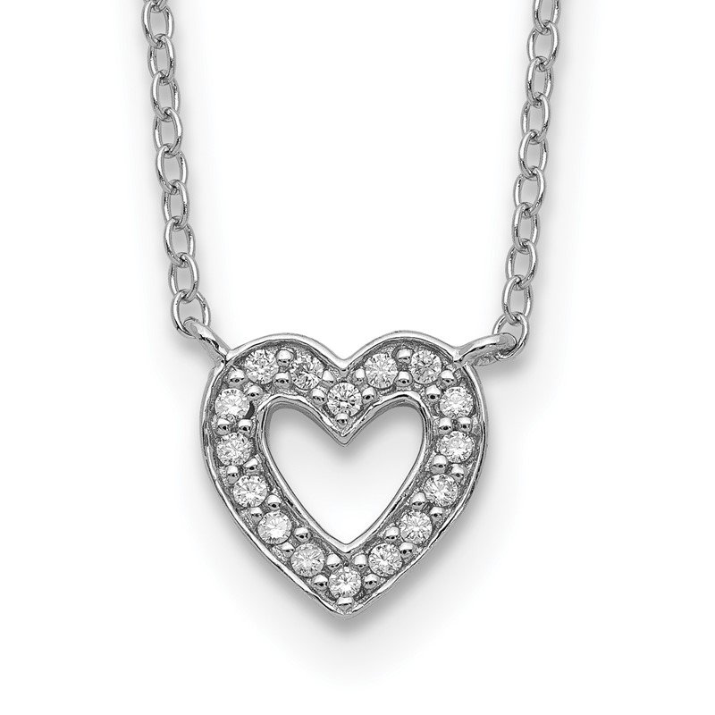 Quality Gold Sterling Silver Rhodium-plated CZ Heart Necklace