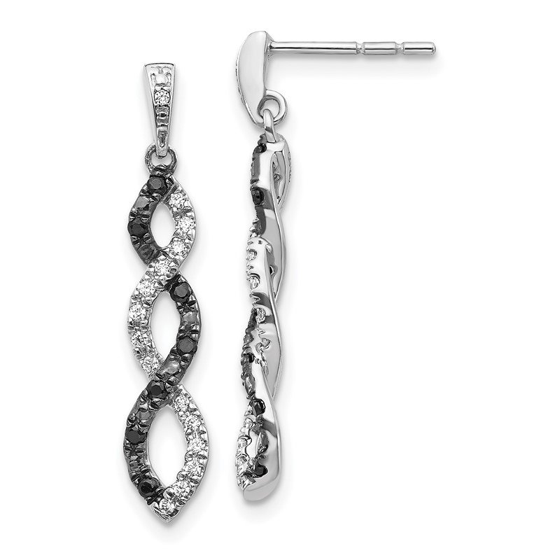 Quality Gold 14k White Gold Black and White Diamond Twisted Post Earrings