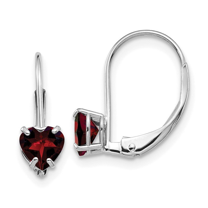 Quality Gold 14k White Gold 5mm Heart Garnet Leverback Earrings