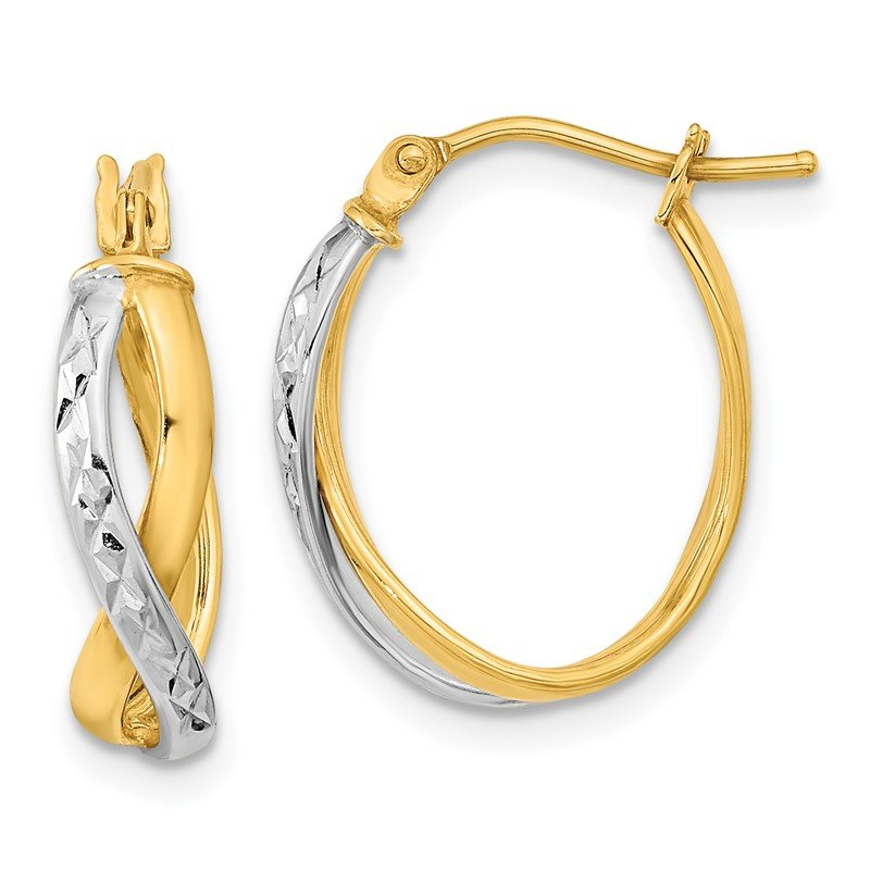 Quality Gold 14k Two-Tone Diamond-cut and Polished Hoop Earrings