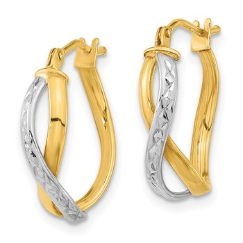 14k Two-Tone Diamond-cut and Polished Hoop Earrings