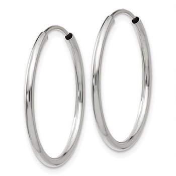 14k White Gold 1.5mm Polished Endless Hoop Earrings