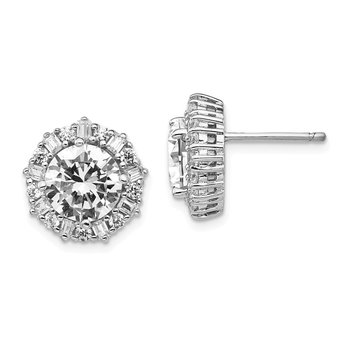 Cheryl M Sterling Silver Rhodium-plated CZ Post Earrings
