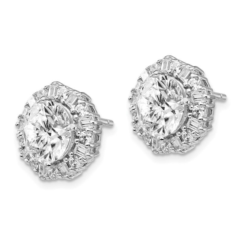 Cheryl M Cheryl M Sterling Silver Rhodium-plated CZ Post Earrings