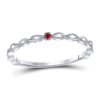 10kt White Gold Womens Round Ruby Solitaire Stackable Band Ring .01 Cttw