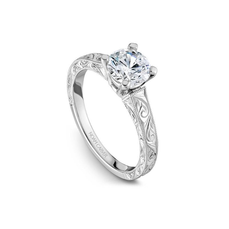 Noam Carver Engraved Solitaire Engagement Ring