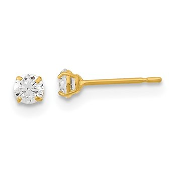14k Madi K 3mm Round CZ Basket Set Stud Earrings