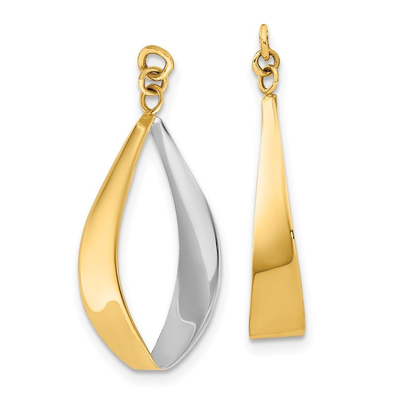 Quality Gold 14k Polished & Rhodium Reversible Dangle Earring Jackets