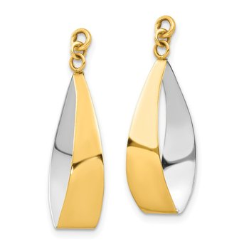 14k Polished & Rhodium Reversible Dangle Earring Jackets