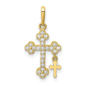 10K CZ Budded Cross w/Cross Dangle Pendant
