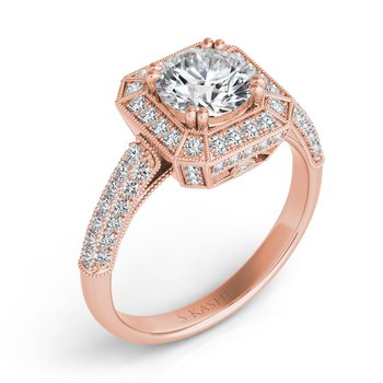 Rose Gold Engagement Ring Pave