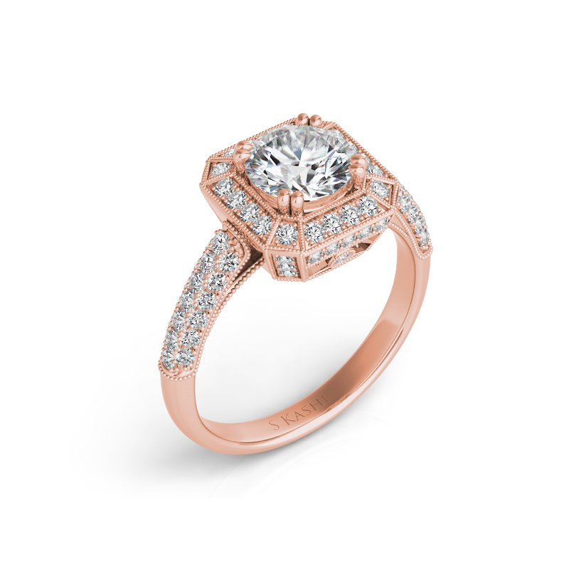 S. Kashi & Sons Bridal Rose Gold Engagement Ring Pave