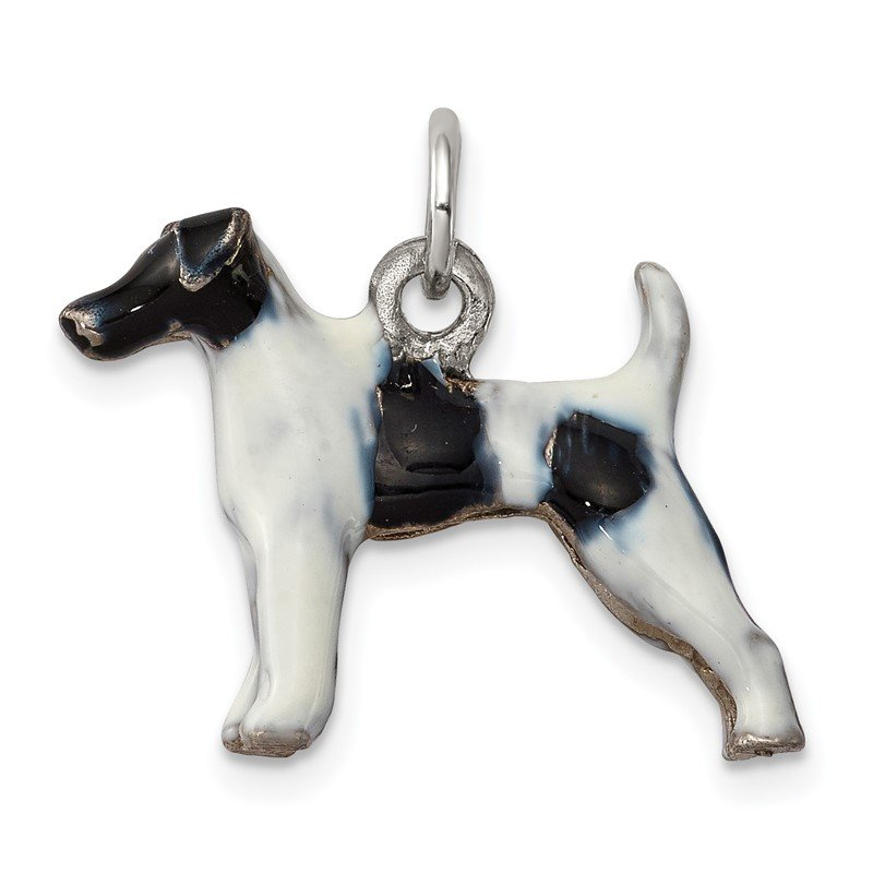 Quality Gold Sterling Silver Enameled Smooth Hair Fox Terrier Charm