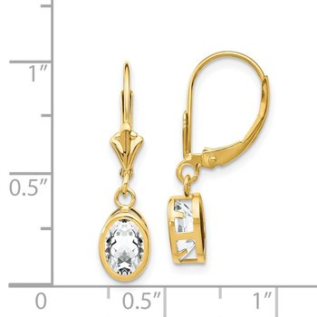 14k 7x5mm Oval Cubic Zirconia Leverback Earrings