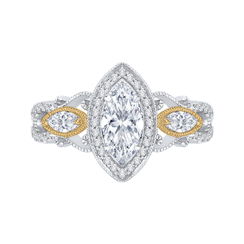 18K Two-Tone Gold Marquise Diamond Halo Engagement Ring (Semi-Mount)