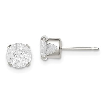 Sterling Silver 6mm Round Snap Set Laser-cut CZ Stud Earrings