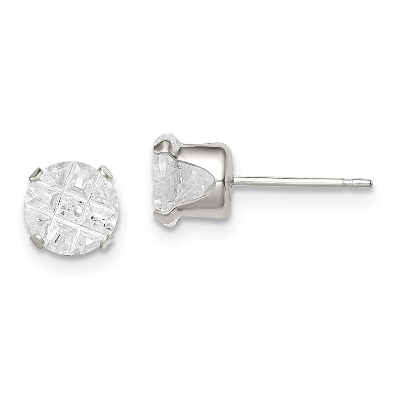 Quality Gold Sterling Silver 6mm Round Snap Set Laser-cut CZ Stud Earrings