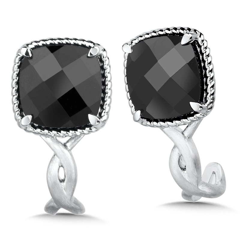Sterling Silver Onyx Post Earrings