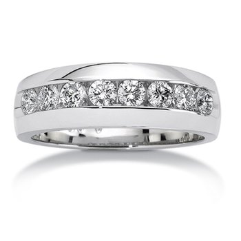 Channel set Diamond Men's 14k White Gold Band (1/4 ct. tw.)