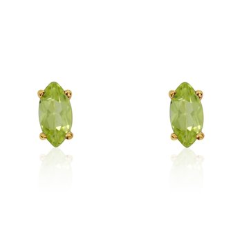 14k Yellow Gold Peridot Marquise Earrings