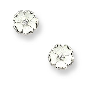 White Rose Stud Earrings.Sterling Silver-White Sapphires
