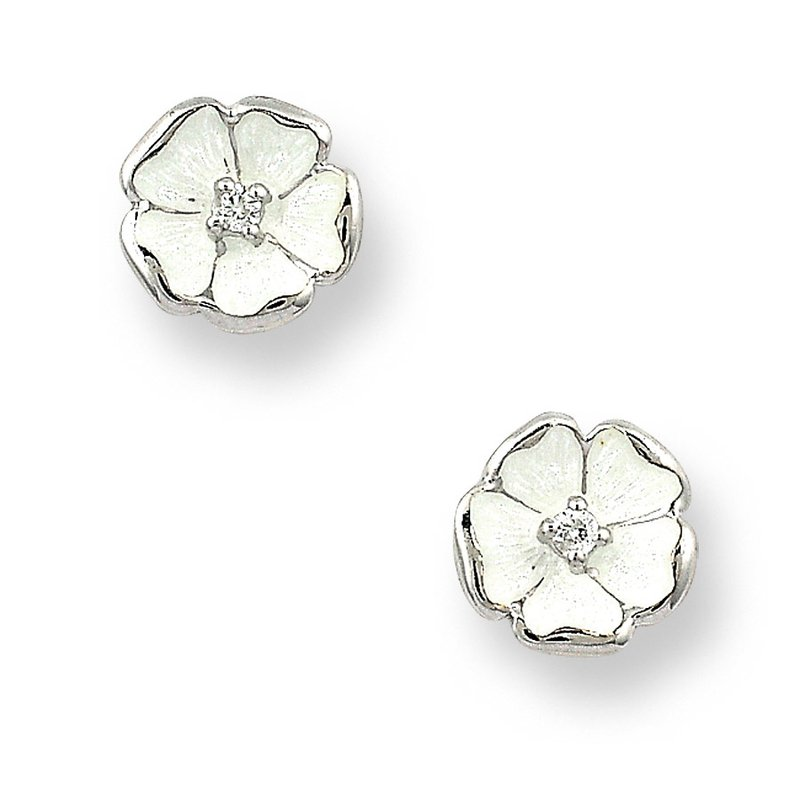 Nicole Barr Designs White Rose Stud Earrings.Sterling Silver-White Sapphires