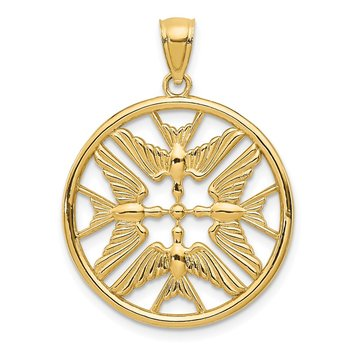 14k Yellow Gold Polished Doves in Circle Pendant