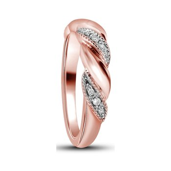 14kt Rose Gold Womens Round Diamond Milgrain Crossover Band Ring 1/20 Cttw