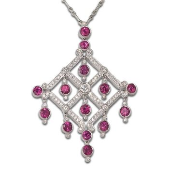 Ruby and Diamond Chandelier Pendant