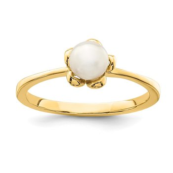 14K Madi K 4-5mm White Button Freshwater Cultured Pearl Flower Ring