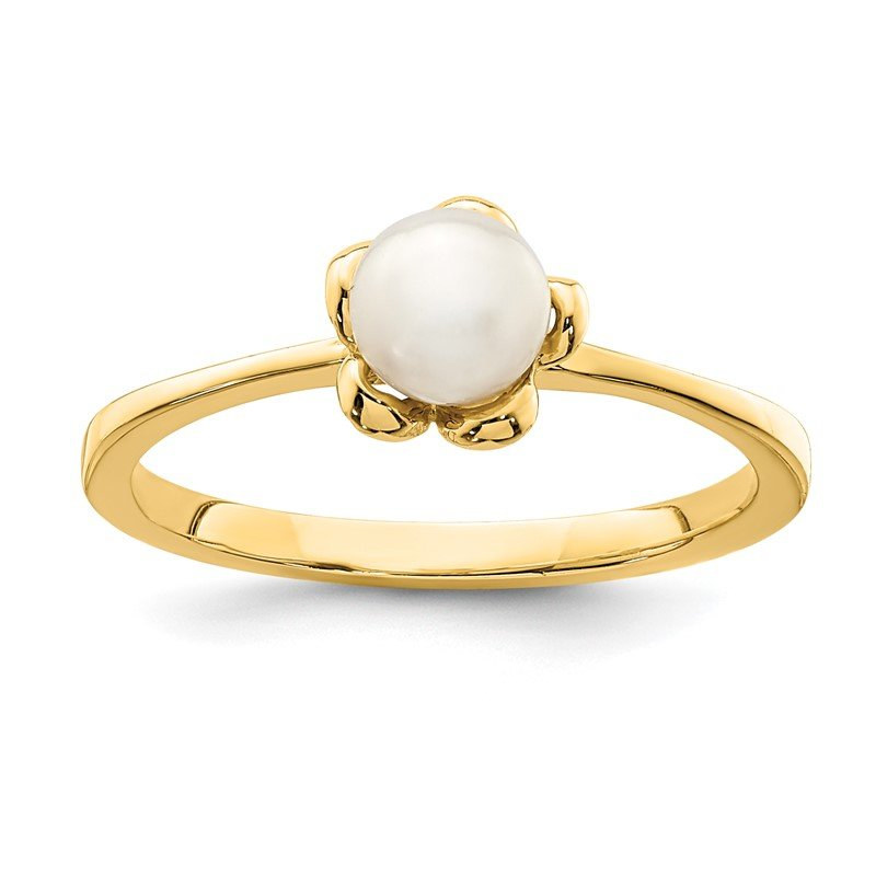 Quality Gold 14K Madi K 4-5mm White Button Freshwater Cultured Pearl Flower Ring