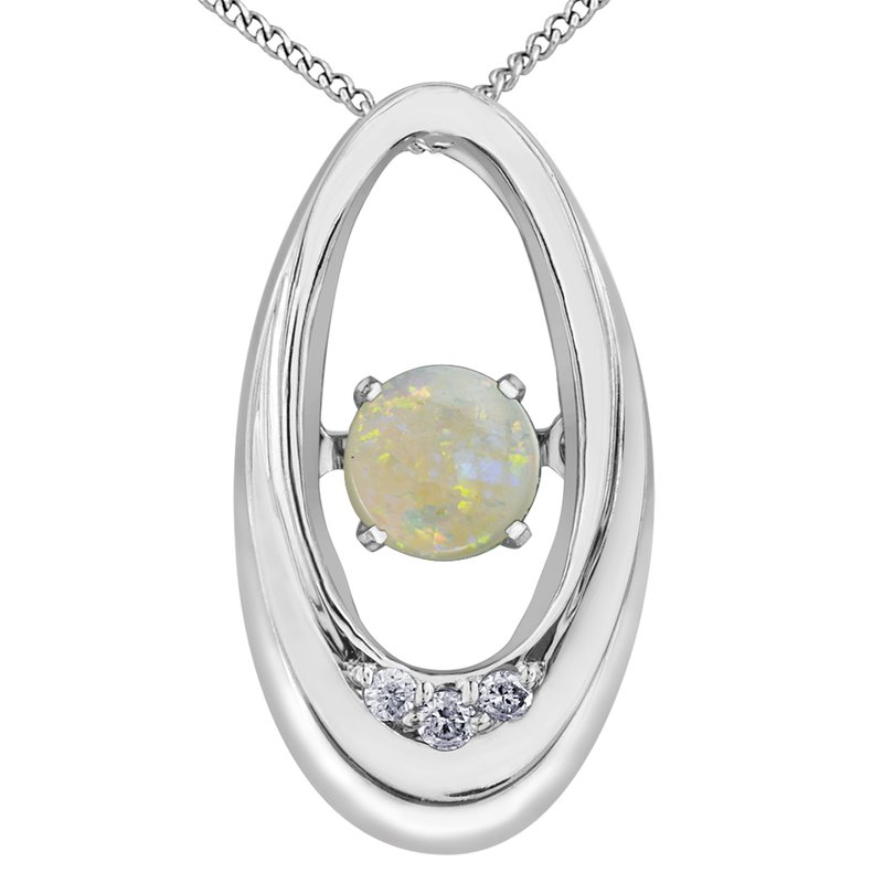 Diamond Wishes Opal Pendant