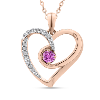 10K Rose Gold 1/5 Ct Diamond with 3/8 Ct Pink Sapphire Heart Pendant with Chain