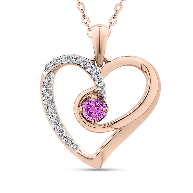 Essentials 10K Rose Gold 1/5 Ct Diamond with 3/8 Ct Pink Sapphire Heart Pendant with Chain