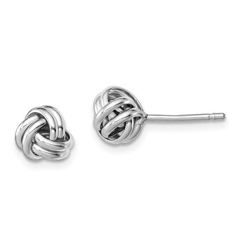 Sterling Silver Rhodium-plated Double Knot Post Earrings