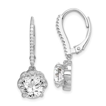 Sterling Silver Rhodium-plated CZ Flower Leverback Dangle Earrings