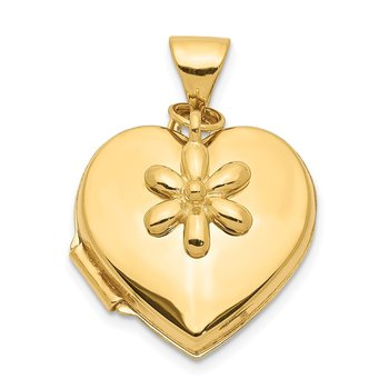 14k 15mm Heart with Flower Dangle Locket