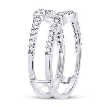 14kt White Gold Womens Round Diamond Ring Guard Enhancer Wedding Band 1/3 Cttw