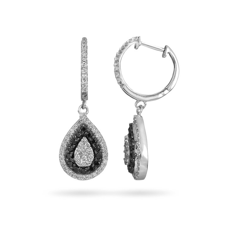 BB Impex 10K WG Black and White Diamond Tear Drop Earring