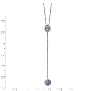 Sterling Silver Rhodium-plated Amethyst w/ 2in ext. Y-Necklace