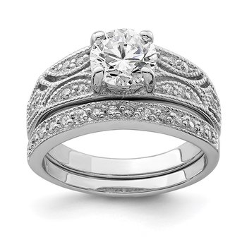 Sterling Silver Rhodium-plated 2-Piece CZ Wedding Set Ring