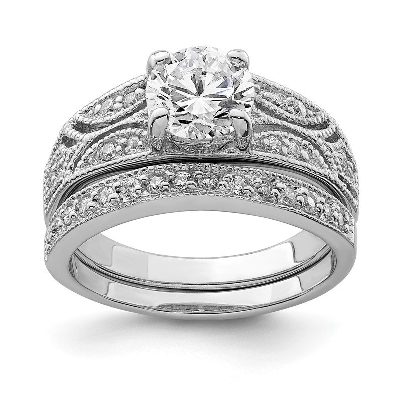 Quality Gold Sterling Silver Rhodium-plated 2-Piece CZ Wedding Set Ring